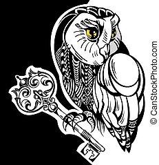 Tattoo owl with key