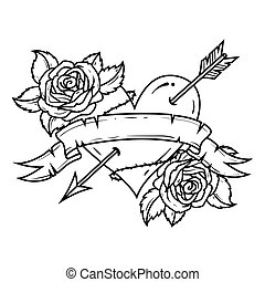 Tattoo Red Heart pierced by arrow with ribbon and roses. ...