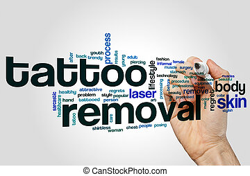 Tattoo removal word cloud concept on grey background