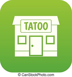 Tattoo salon building icon digital green