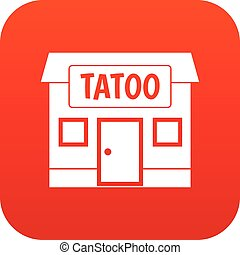 Tattoo salon building icon digital red