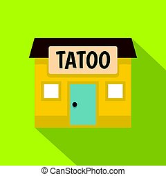 Tattoo salon building icon, flat style