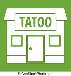 Tattoo salon building icon green