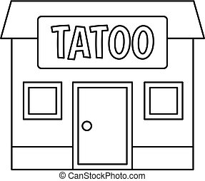Tattoo salon building icon outline