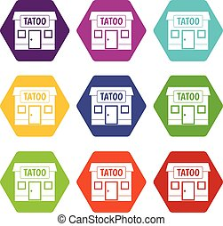 Tattoo salon building icon set color hexahedron