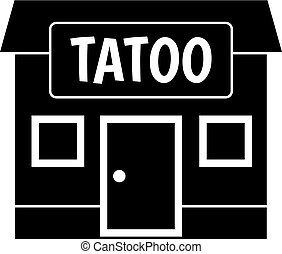Tattoo salon building icon simple