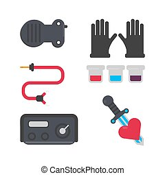 Tattoo salon equipment and tattooing tools vector flat icons set