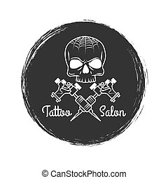 Tattoo salon grunge emblem with skull