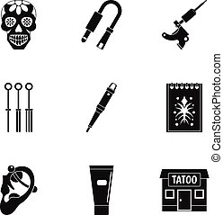 Tattoo salon icon set, simple style