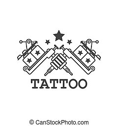Tattoo salon label with two crossed mechanic ink machines