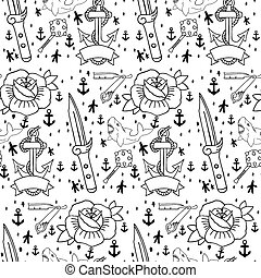 Tattoo seamless pattern with different hand drawn elements