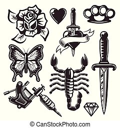 Tattoo set of vector objects and design elements