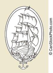 Tattoo ship black and white stencil vector - Tattoo ship...