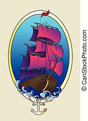 Tattoo ship color vector illustration - Tattoo ship color...