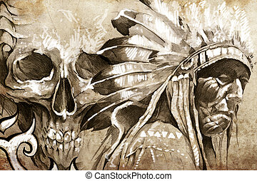 Tattoo sketch of American Indian tribal chief warrior with skull