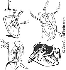 tattoo sketches of knight shields with blades
