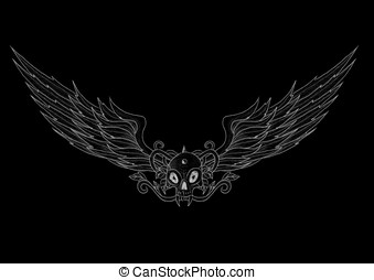 Tattoo skull with wings vector illustration on black background