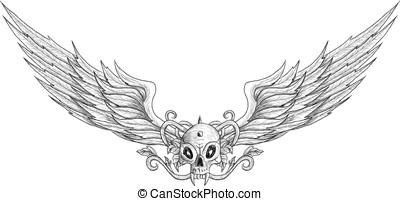 Tattoo skull with wings vector illustration
