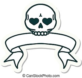 tattoo sticker with banner of a skull