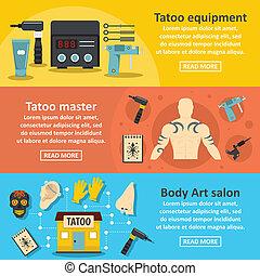 Tattoo studio banner horizontal set, flat style