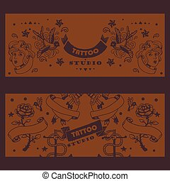 Tattoo studio banner, vector illustration. Graphic art elements and classic tattoo symbol. Rose with ribbon, bird and heart. Creative advertisement concept