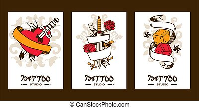 Tattoo studio banners, vector illustration. Graphic art elements and classic symbols of love and luck. Tattoo salon catalog cover template, creative artwork emblem