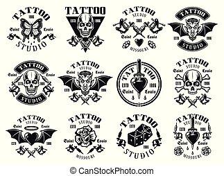 Tattoo studio big set of vector vintage emblems