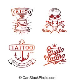 Tattoo studio logo. Colorful logos for tattoo parlor templates. Vector retro tattooing art shop emblems with skull and anchor isolated on white