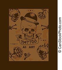 Tattoo studio poster, vector illustration. Grunge style graphic art, tattoo salon catalog cover template. Hand drawn skull in hat, old school tattoo design