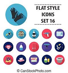 Tattoo studio set icons in flat style. Big collection tattoo studio vector symbol stock illustration