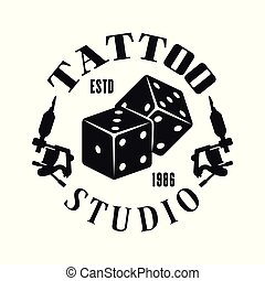 Tattoo studio vector emblem with gambling dice