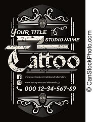 Tattoo studio vintage poster template on black background.