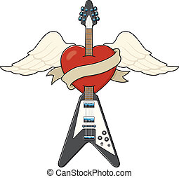 Illustration of a guitar piercing a winged heart. Also features a banner ready for you to add the name of your band, your sweetheart, or maybe just your favourite beer.