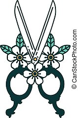tattoo style icon of a barber scissors and flowers