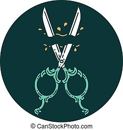 tattoo style icon of barber scissors