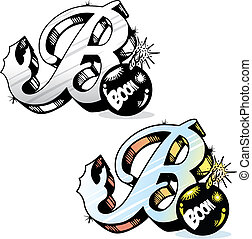 Tattoo style letter B with relevant symbols incorporated -...