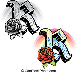 Hand drawn tattoo style letter R with relevant symbols incorporated including a red rose and rainbow. All parts are fully editable. Part of a growing collection of tattoo theme illustrations. View my full portfolio for more details.