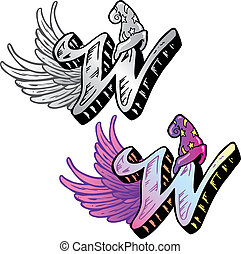 Hand drawn tattoo style letter W with relevant symbols incorporated including a wizards hat and wings. All parts are fully editable. Part of a growing collection of tattoo theme illustrations. View my full portfolio for more details.