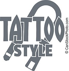 Tattoo style logo, simple gray style