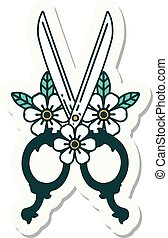 tattoo style sticker of a barber scissors and flowers
