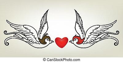 tattoo swallow heart