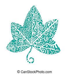 tattoo., törzsi, levél növényen, repkény