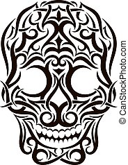 Tattoo tribal skull. Vector design element.