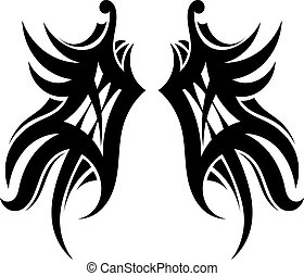 Tattoo wings on a white background