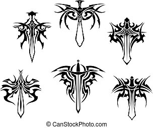 Tattoo with swords and daggers - Tattoo set with swords and ...