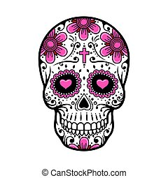 tattoo., zucker, vektor, tag, abbildung, skull., tot, blume