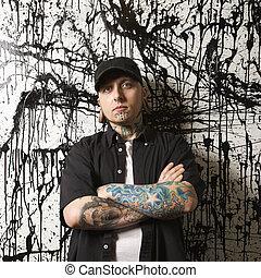 tattooed, man., perforado