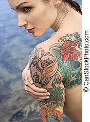 tattooed, woman., desnudo