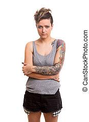Tattooed Woman - Studio shot of a young tattooed woman