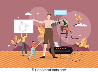 Professional tattoo artist master making tattoo with machine and inks, vector flat illustration. Tattooing art. Tattoo shop, studio and parlour services.